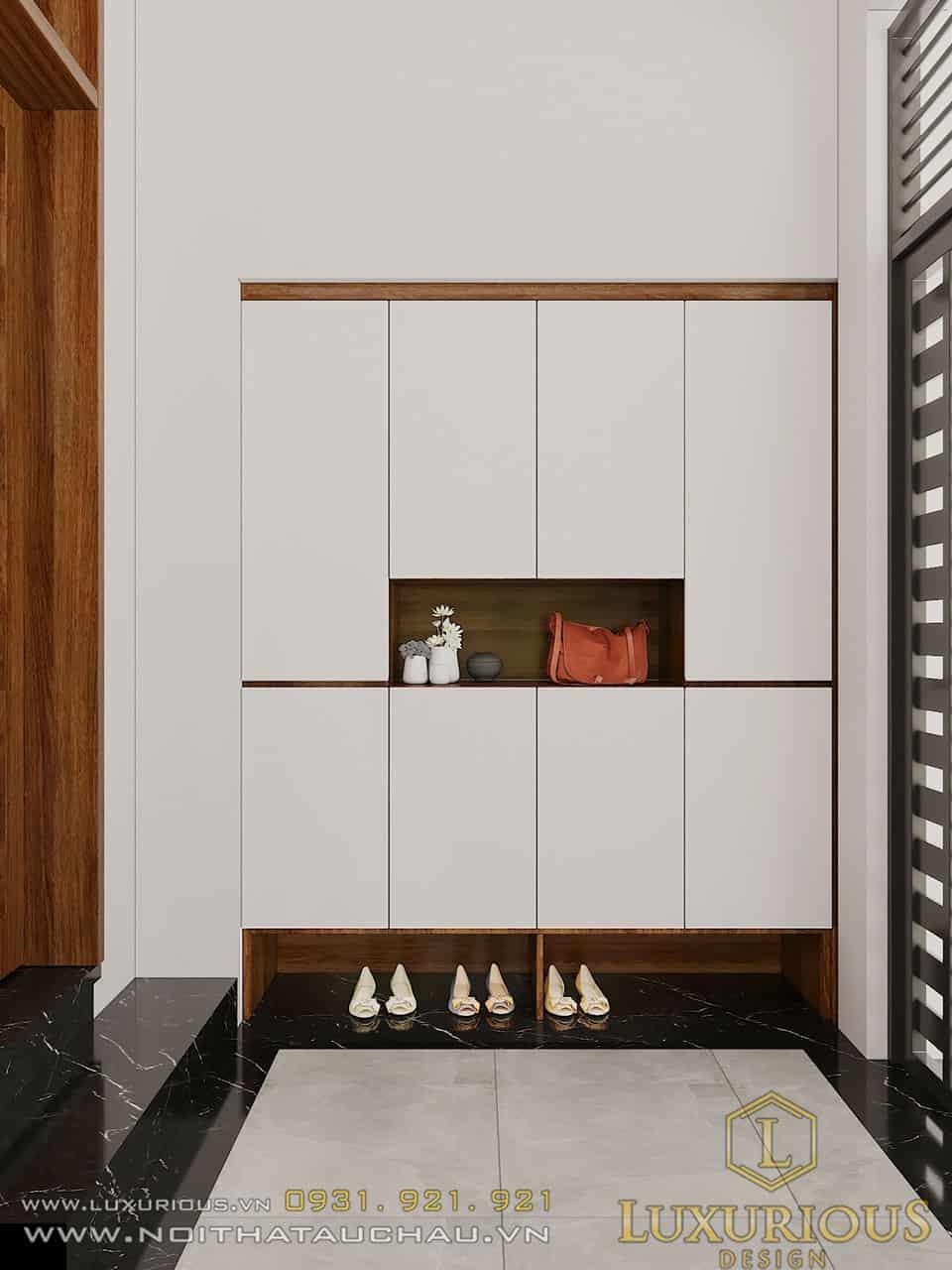 Tủ để giày màu trắng