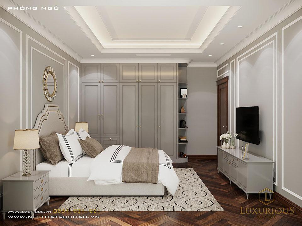 Mẫu phòng ngủ tân cổ điển màu xám