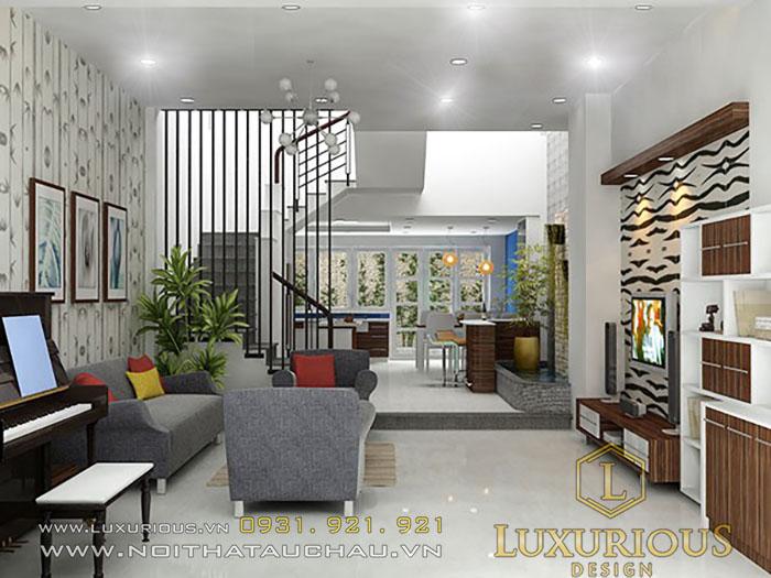 Mẫu thiết kế nội thất phòng khách nhà ống đẹp