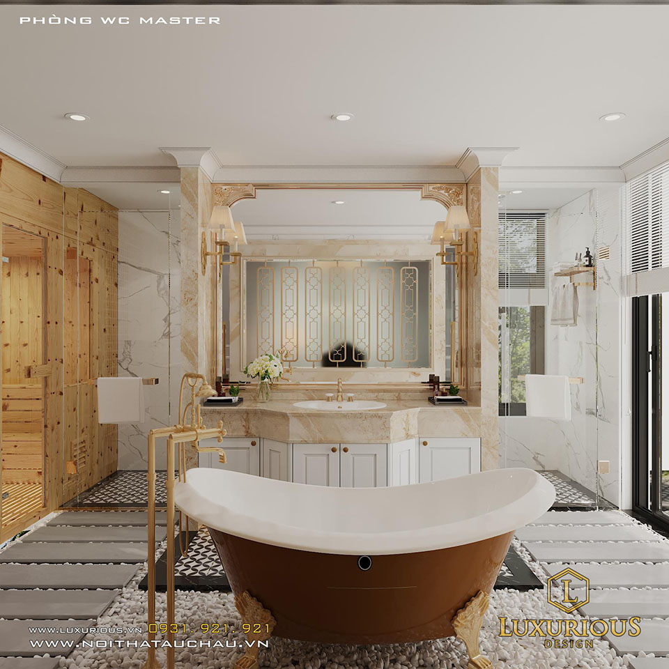 Mẫu thiết kế phòng tắm tân cổ điển