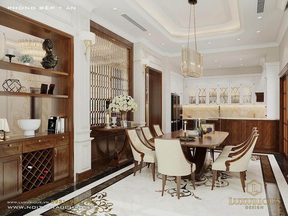 Thiết kế phòng bếp tân cổ điển sang trọng