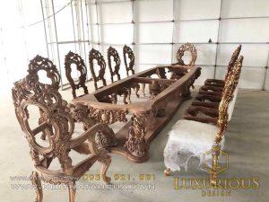 Sản phẩm bàn ghế ăn nội thất tân cổ điển tại nhà máy sản xuất Mộc Minh Đức thương hiệu Luxurious