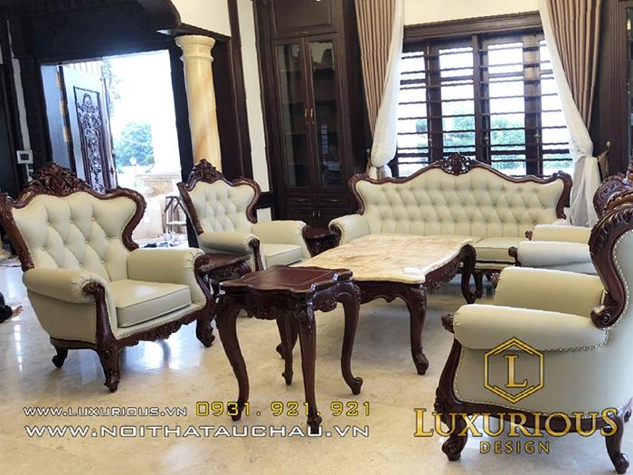 Bộ bàn ghế gỗ tự nhiên tân cổ điển