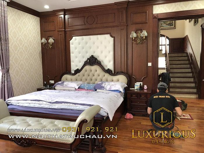 Giường gỗ tự nhiên bọc da