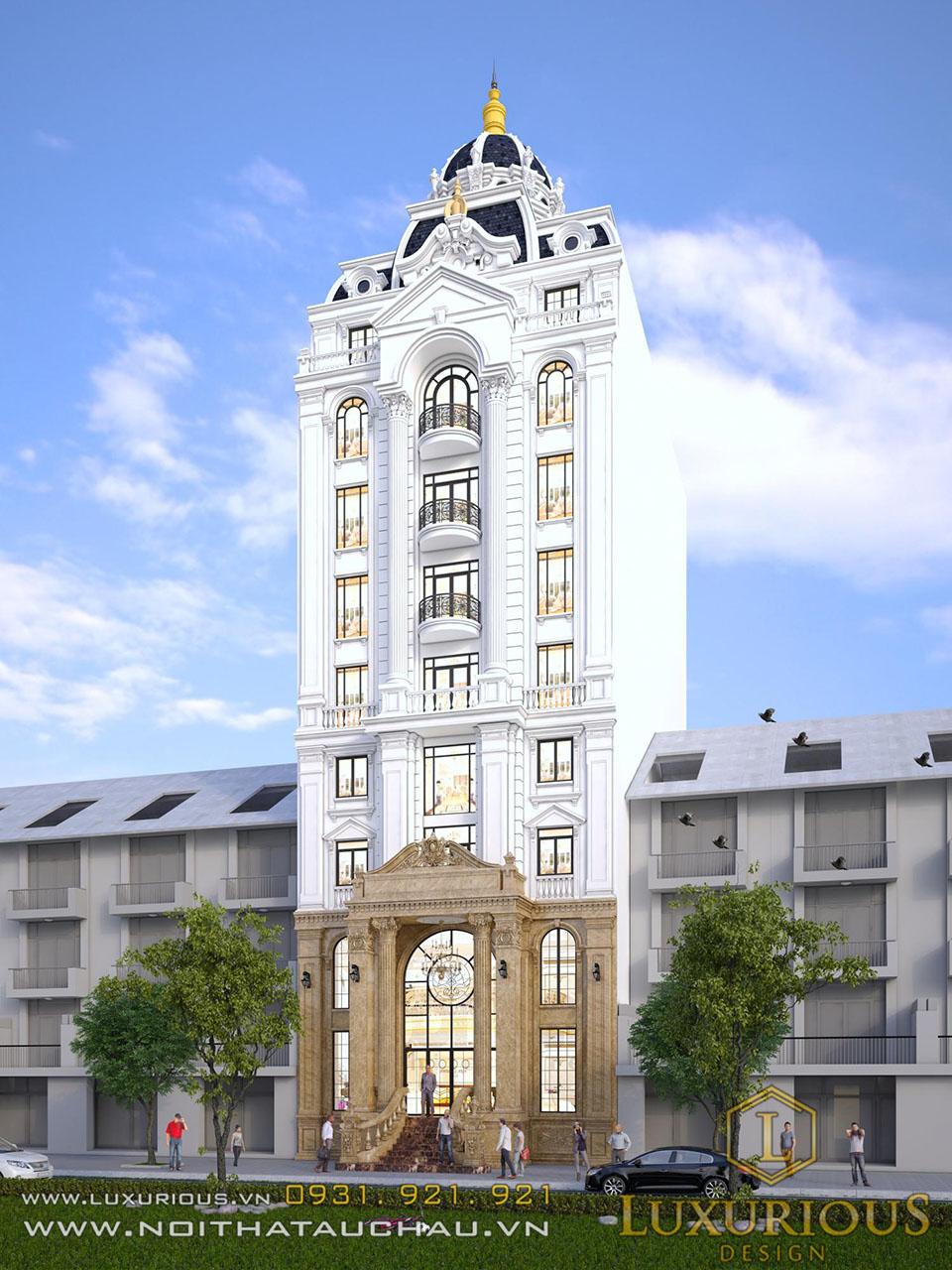 Mặt tiền khách sạn 9 tầng tân cổ điển