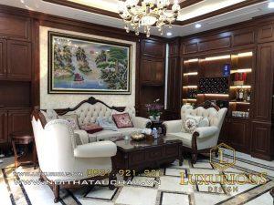 Mẫu thiết kế sofa phòng khách phong cách tân cổ điển đẹp mê mẩn