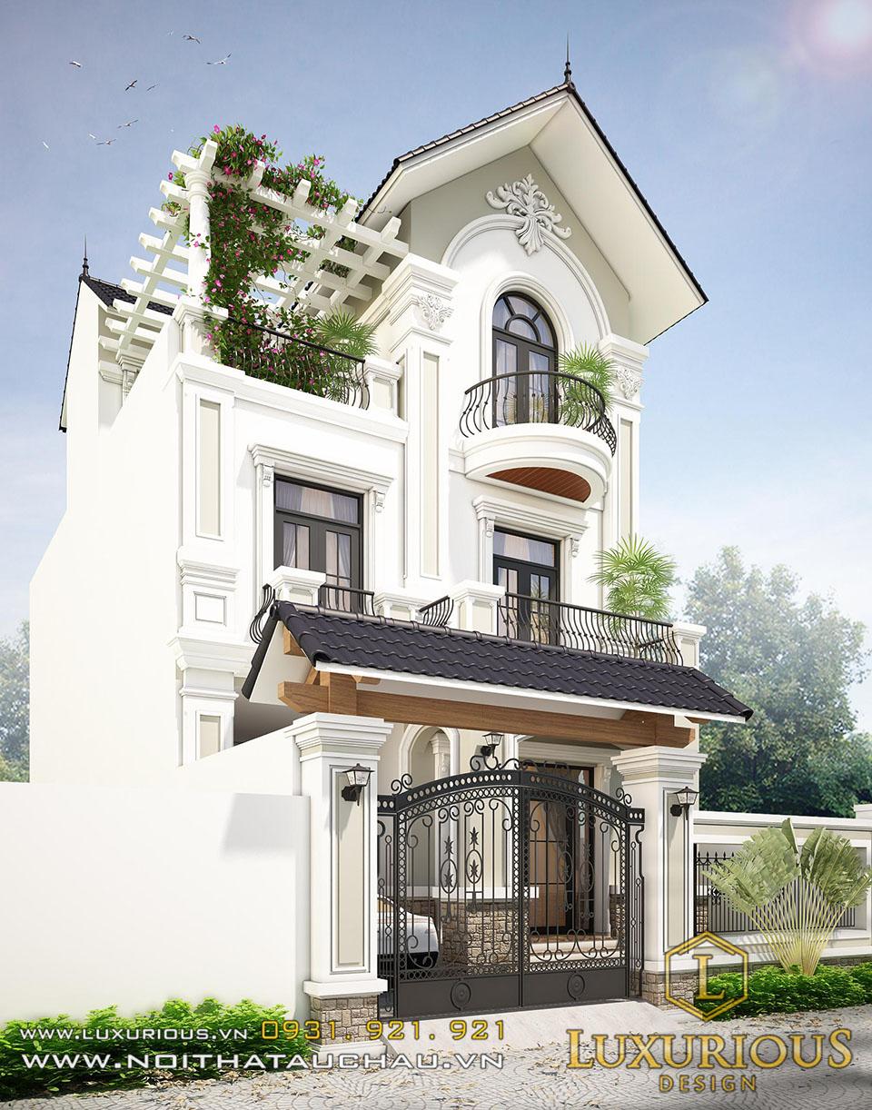 Mẫu kiến trúc biệt thự 3 tầng mái thái