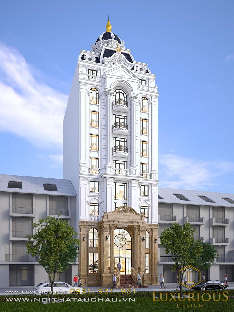 Mẫu thiết kế khách sạn 9 tầng tân cổ điển
