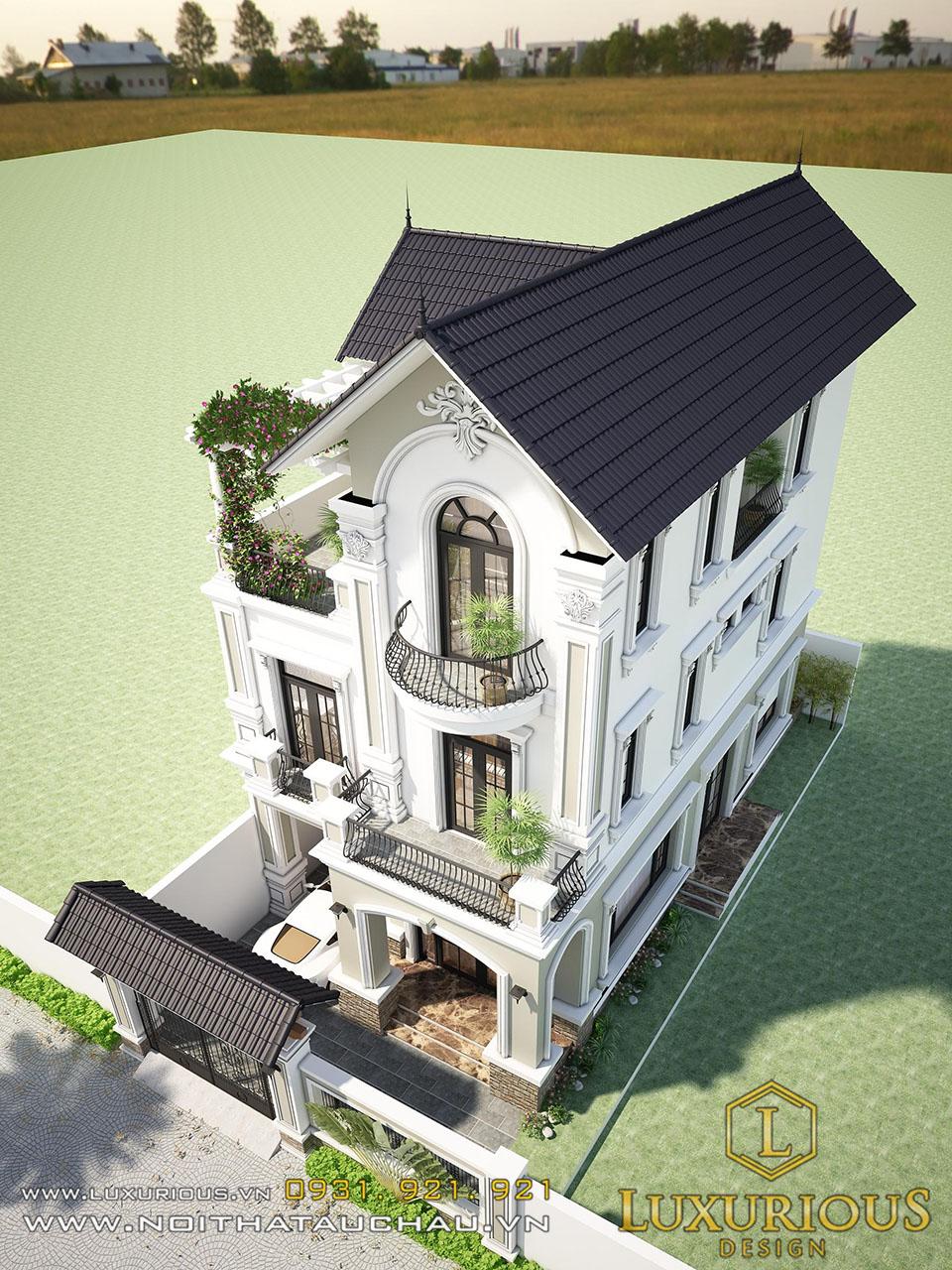 Thiết kế kiến trúc biệt thự mái thái 3 tầng tân cổ điển