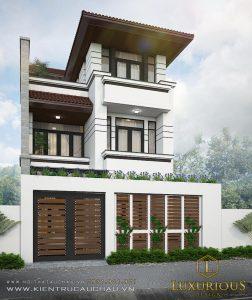 Mẫu thiết kế kiến trúc nhà phố hiện đại 3 tầng
