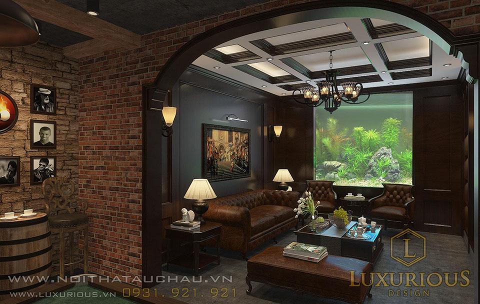 Thiết kế tầng hầm biệt thự có bể cá ngoài trời