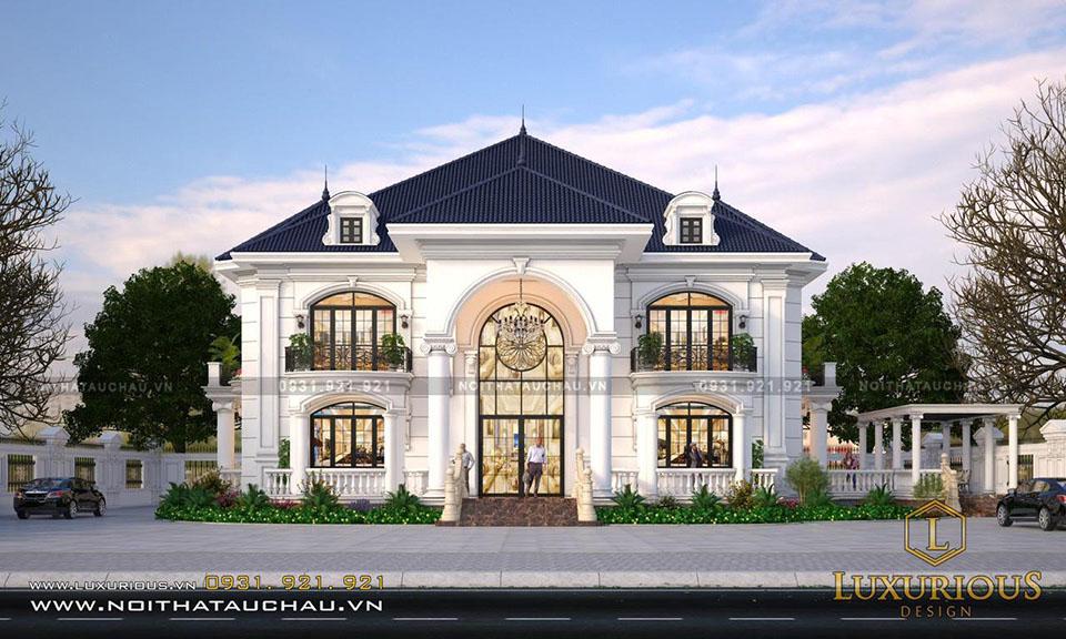 Mẫu thiết kế dinh thự 2 tầng mái thái tân cổ điển