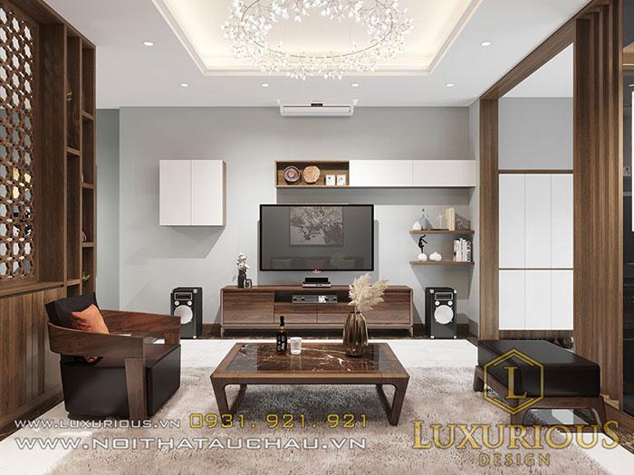 Nội thất gỗ tự nhiên phòng khách tầng 1