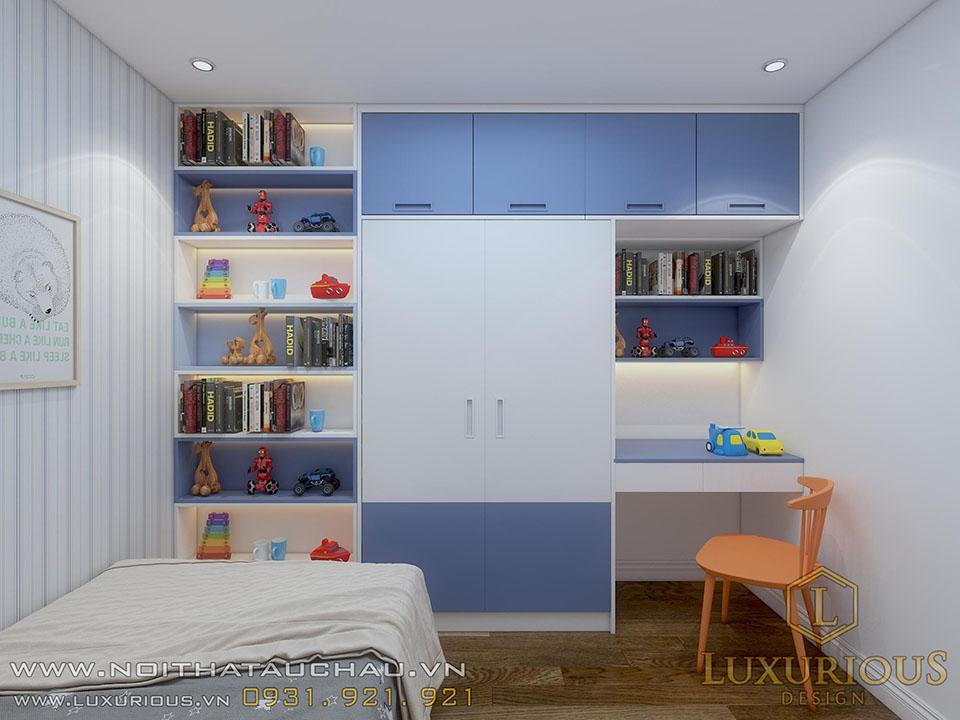 Phòng ngủ chung cư con trai màu xanh