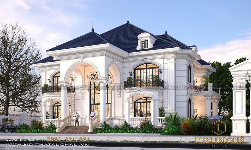 Thiết kế dinh thự 2 tầng tân cổ điển
