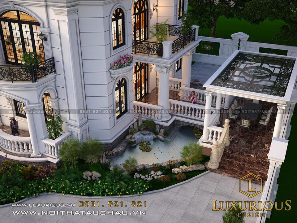 Thiết kế kiến trúc dinh thự tân cổ điển mái thái