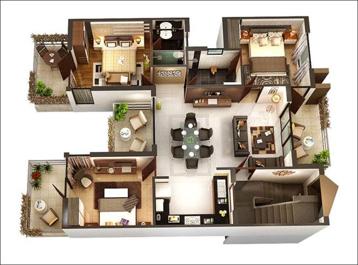 Mẫu thiết kế nội thất căn hộ chung cư 3 phòng ngủ rộng rãi thoáng mát và ấm cúng