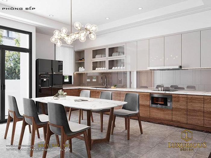 Phòng bếp nhà ống chữ L