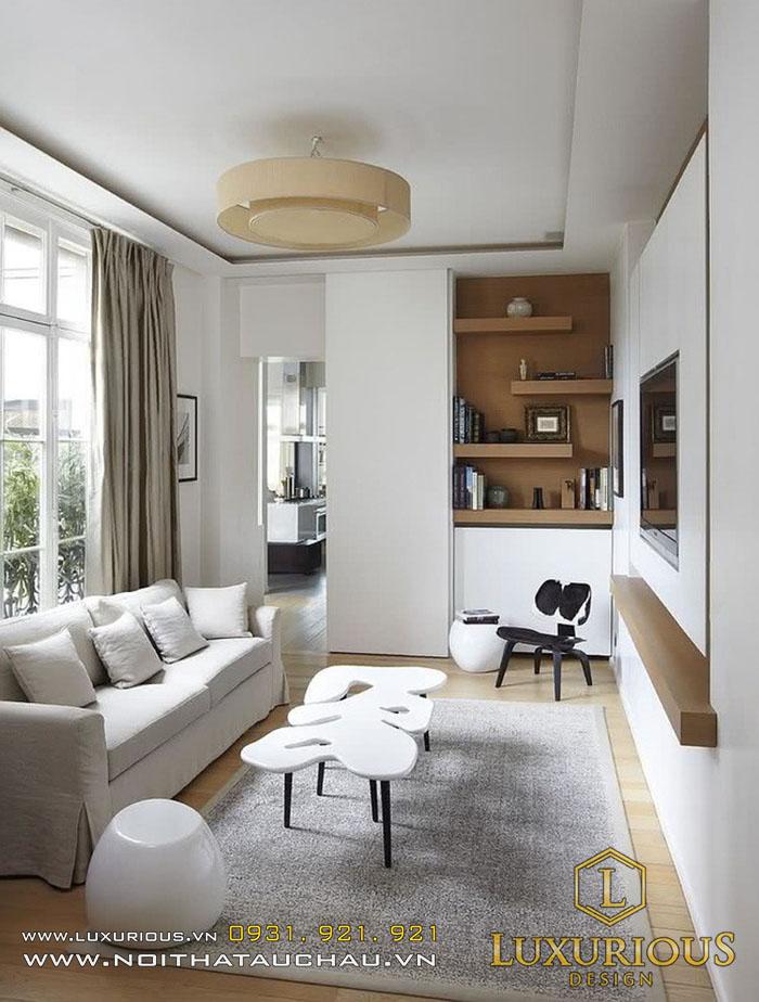 Phòng khách đẹp tinh tế với tone màu trắng kết hợp cùng màu gỗ ấn tượng