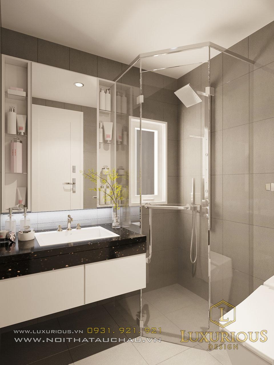 Phòng tắm chung cư vách kính