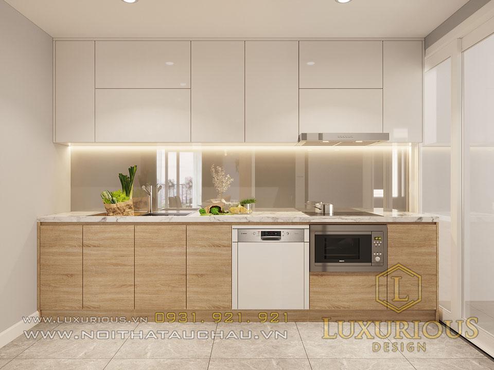 Tủ bếp gỗ công nghiệp nhà chung cư hiện đại