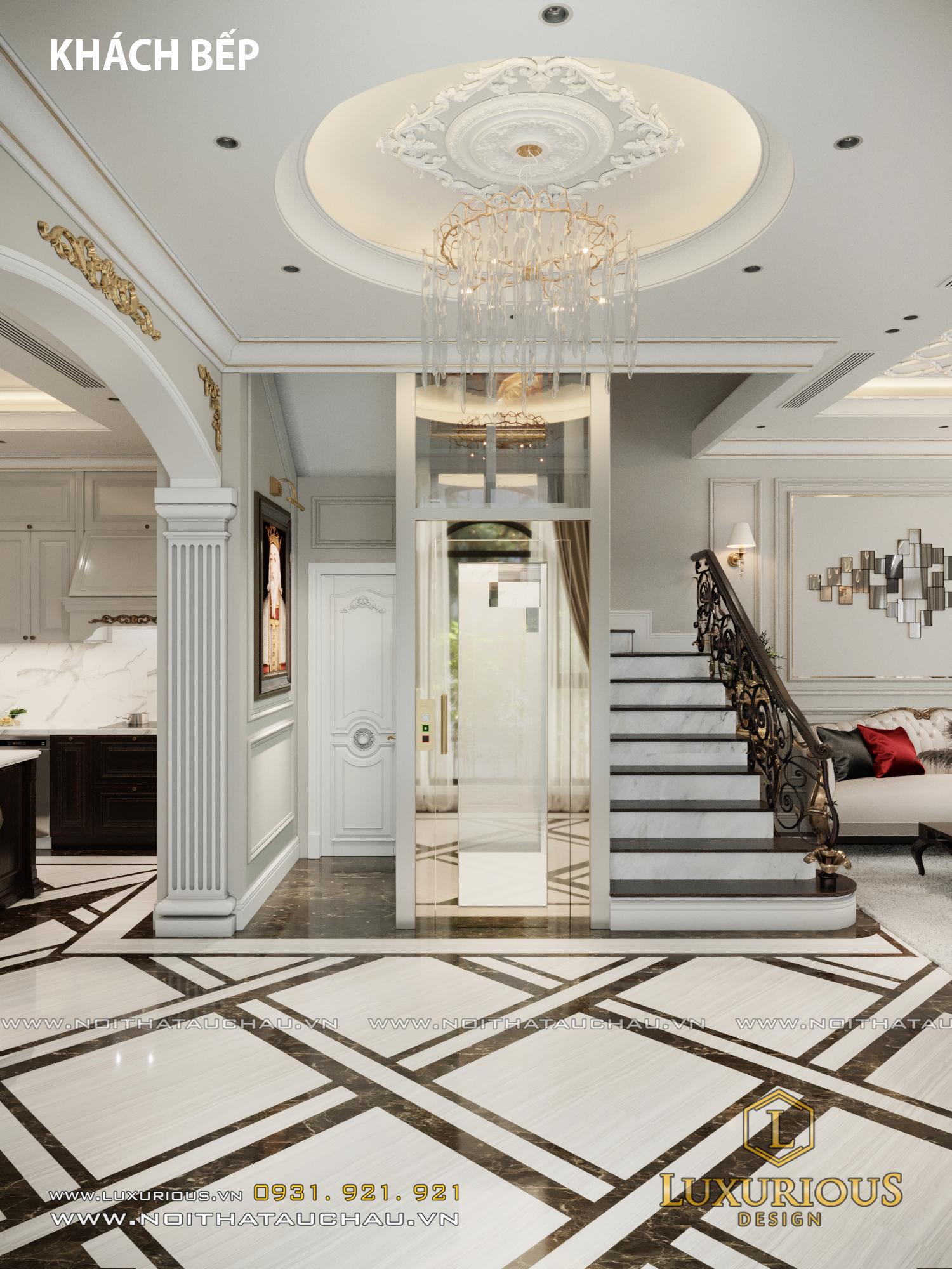 Sảnh phòng khách tầng 1 biệt thự tân cổ điển