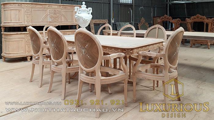 Sản xuất phôi bộ bàn ghế ăn tân cổ điển