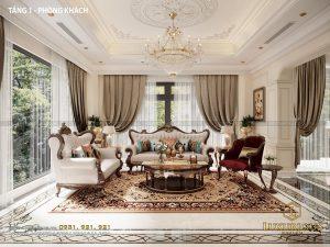 Mẫu thiết kế nội thất phòng khách biệt thự Vinhomes Imperia