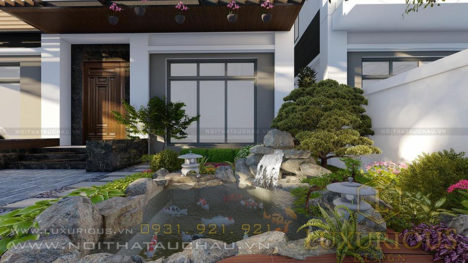 Mẫu thiết kế sân vườn biệt thự tây hồ tây