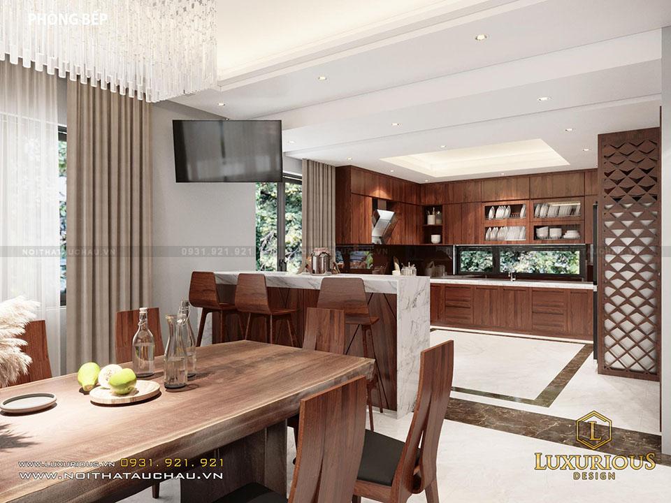 Thiết kế phòng ăn biệt thự hiện đại