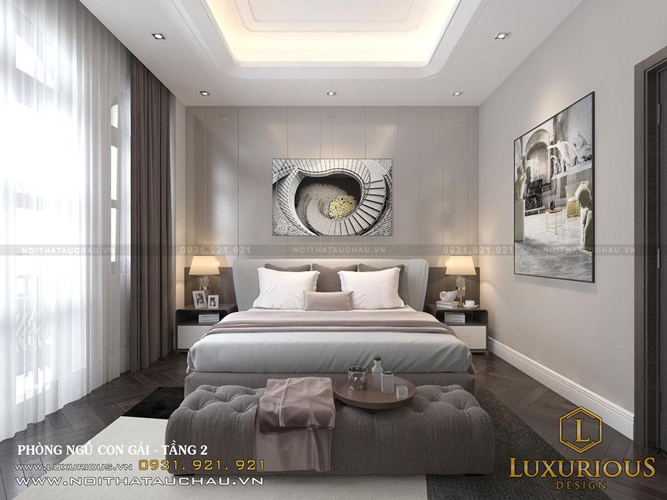 Thiết kế phòng ngủ con gái tầng 2