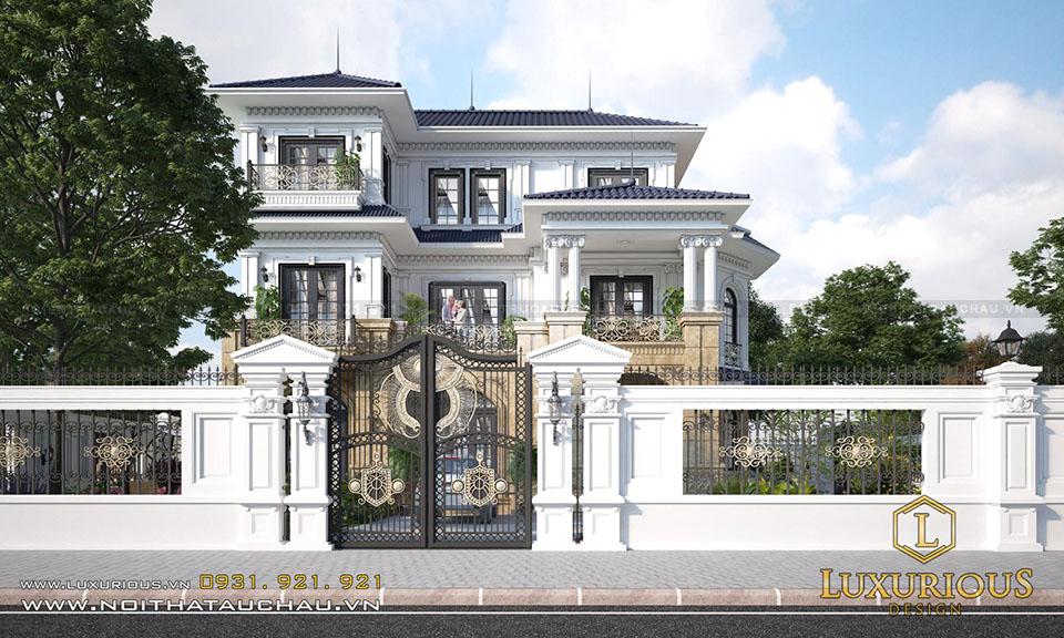 Mẫu thiết kế biệt thự tân cổ điển mái thái