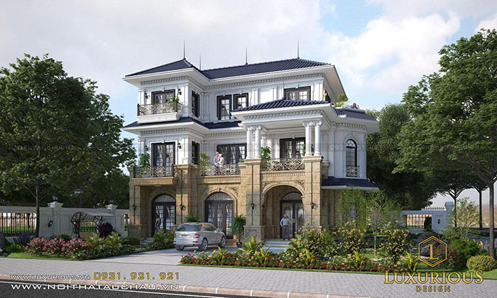 Mặt tiền biệt thự 3 tầng tân cổ điển