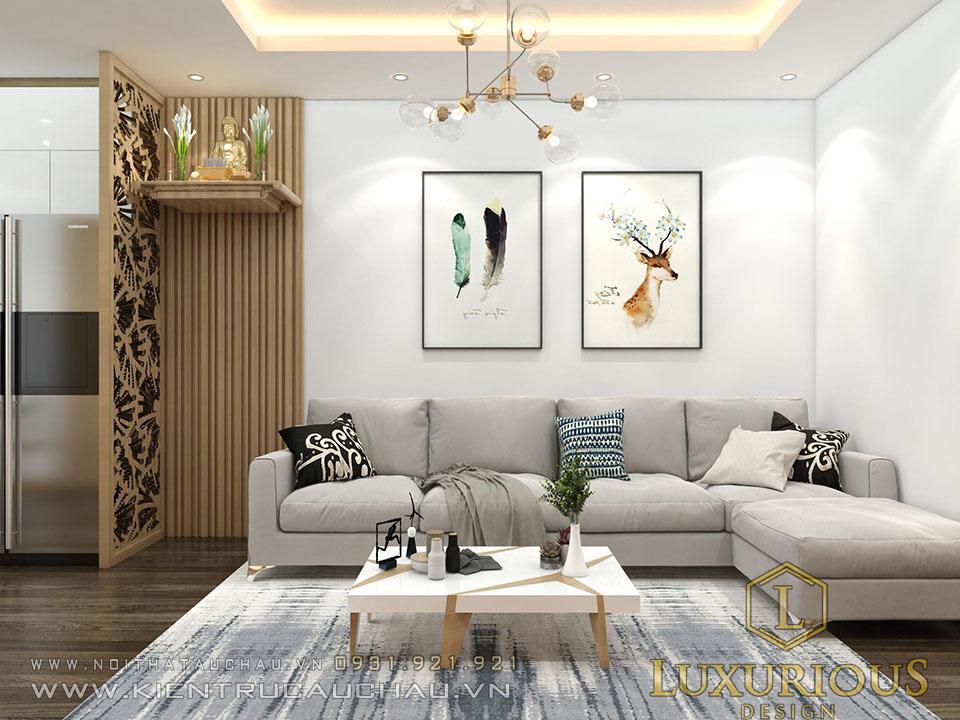 Thiết kế phòng khách chung cư phong cách phong cách Scandinavian