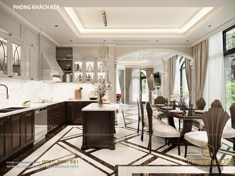 Phòng bếp biệt thự tân cổ điển đẹp