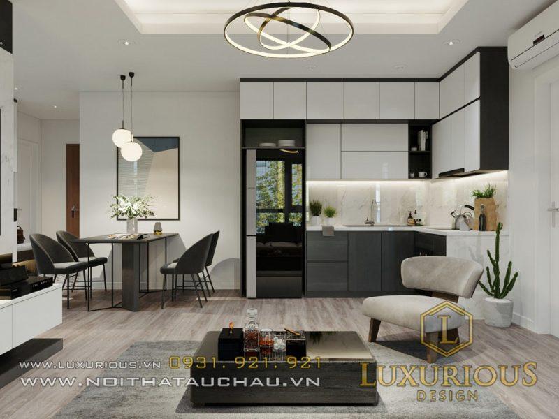 Phòng khách chung cư hiện đại 70m2