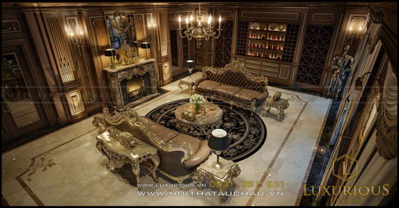 Phòng khách cổ điển Châu Âu