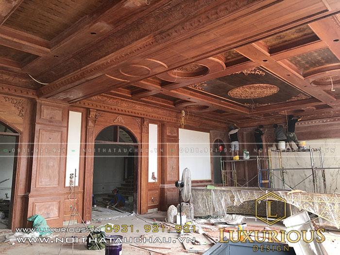 Thợ thi công nội thất đồ gỗ biệt thự 3 tầng tân cổ điển
