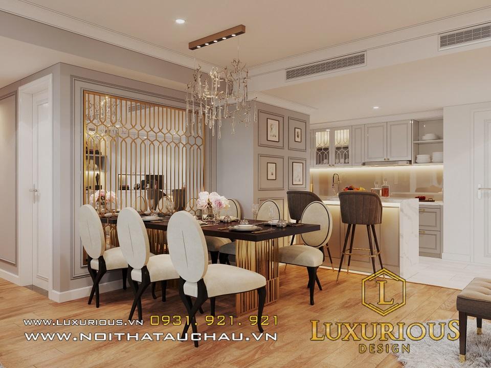 Thiết kế nội thất phòng bếp chung cư tân cổ điển