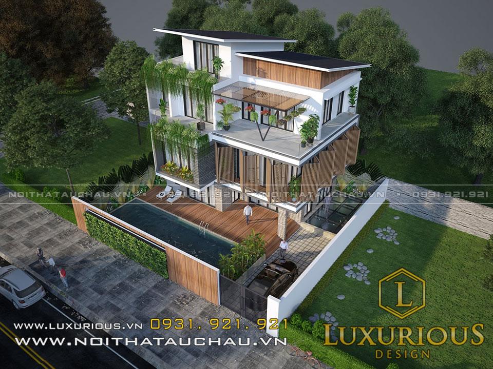 Mẫu thiết kế kiến trúc biệt thự phố 3 tầng