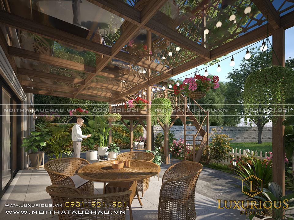 Thiết kế sân vườn nhà gỗ trên cây