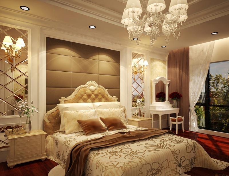 Phòng ngủ theo phong cách cổ điển được thể hiện qua các hoa văn, những họa tiết cầu kỳ