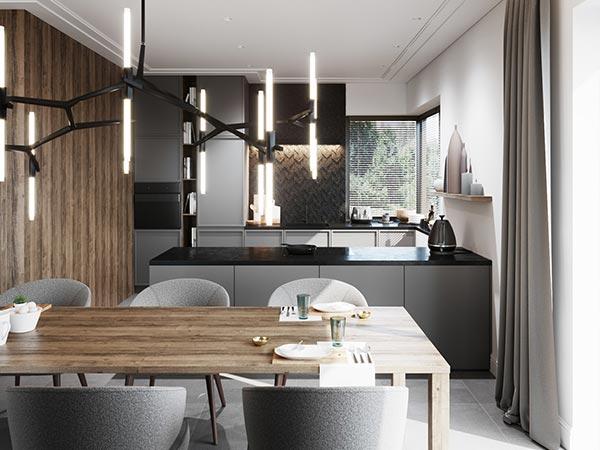 Không gian nội thất phòng bếp hiện đại sang trọng