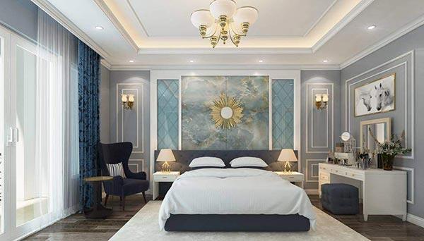 Thiết kế nội thất phòng ngủ nhà phố Ecopark tân cổ điển