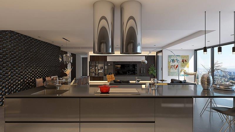 Không gian nấu nướng và sinh hoạt trong phòng bếp như 1 ốc đảo sang trọng
