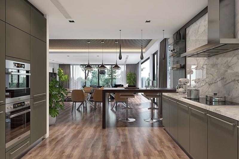 Sự kết hợp giữa chất liệu gỗ mang đến sự độc đáo trong thiết kế phòng bếp