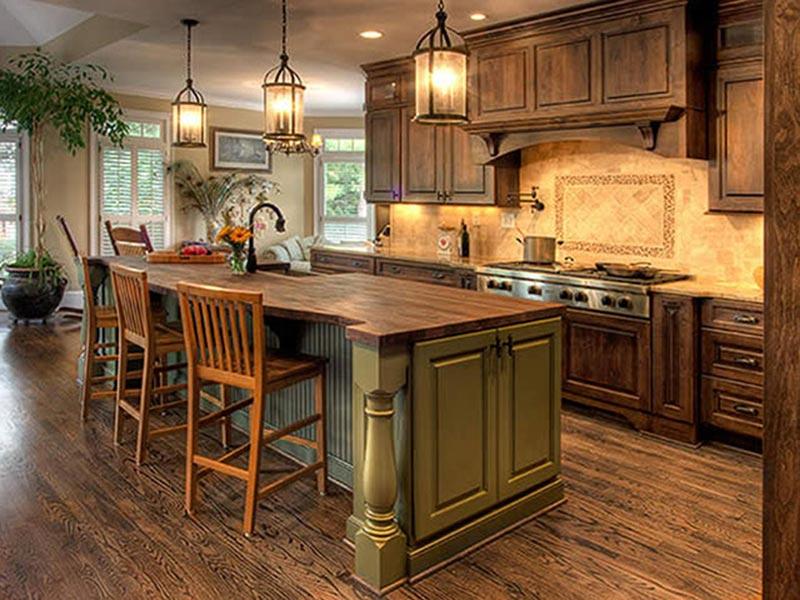 Thiết kế phòng bếp với chất liệu gỗ tự nhiên cao cấp