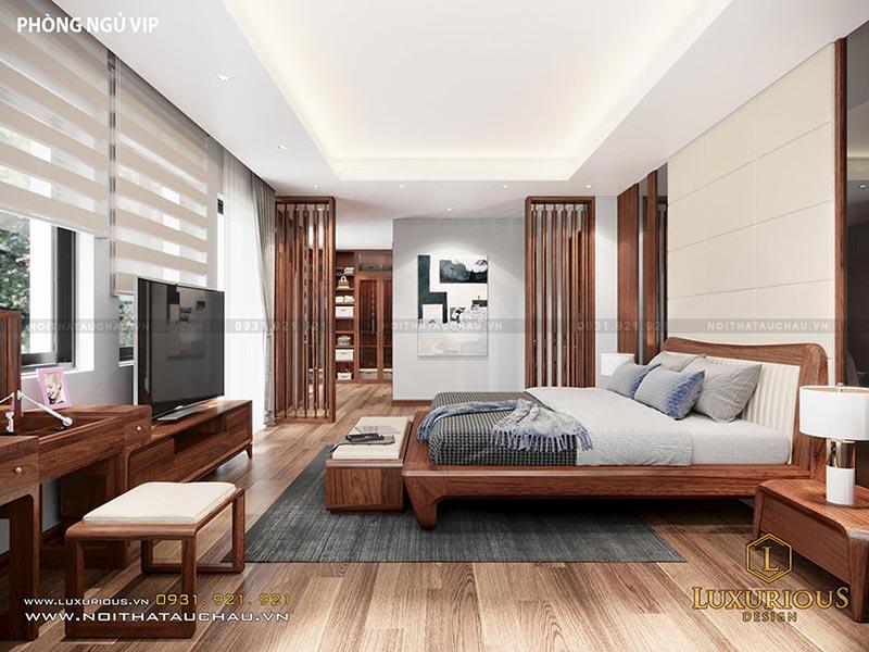 Phòng ngủ Master sử dụng chất liệu gỗ óc chó