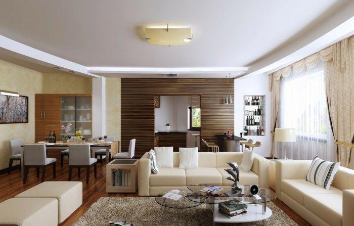 Mẫu thiết kế phòng khách liền bếp chung cư