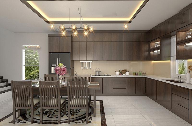 Phòng bếp nhà ống thông thoáng gần gũi với thiên nhiên